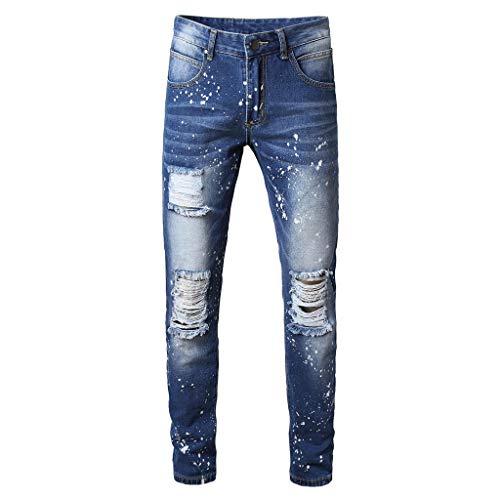 Malloom- Bekleidung Herren Mode Röhrenjeans Distressed Slim Elastic Jeans Denim Biker Jeans Schlanke Jeans Hose Strand Schnalle karottenhosen beiläufige