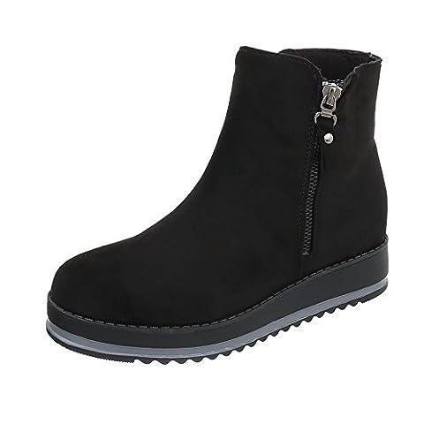 Klassische Stiefeletten Damen-Schuhe Schlupfstiefel Moderne Reißverschluss Ital-Design Stiefeletten Schwarz, Gr 40,