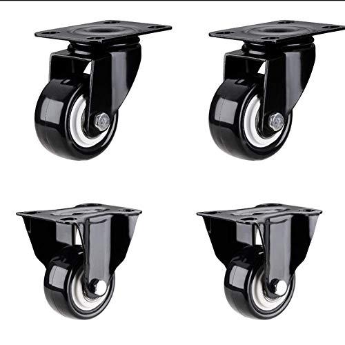 2-Zoll-Schwerlastrollen, Hochleistungsgussreifen für Möbelschränke, 2 Universalrollen + 2 Richtungsrollen - Ellen Seide