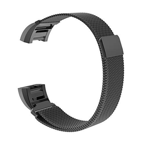 Dadanism Uhrenarmband Kompatibel mit Fitbit Charge 2, Metallarmband mit Magnetverschluss Edelstahl Mesh Ersatzband mit Adapter - Schwarz - Fitbit-armband Faltschließe