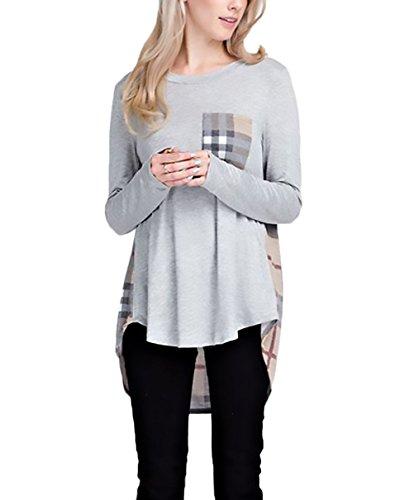 T-Shirt Donna Camicia Manica Lunga Autunno Eleganti Top Unique Basic Quadretti Stampata Camicie Rotondo Collo Irregolare Giuntura Con Tasca Sciolto Casual Maglietta Gray