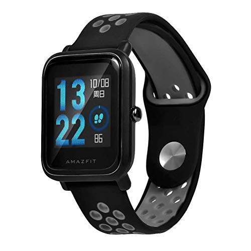 Correa Saisiyiky para amazfit BIP Youth - 20 mm Correa de repuesto de silicona para Galaxy Watch, Gear S2 Classic, Huawei Watch 2, Gris