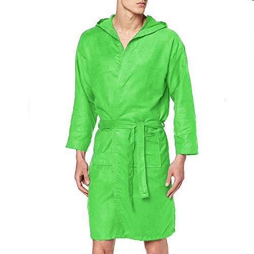 PETTI Artigiani Italiani - Albornoz, Albornoz Hombre, Albornoz Mujer, Albornoz de Microfibra Verde XL, con bolsillos, capucha y cinturón.