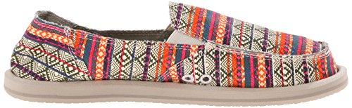 Sanuk Women's Donna Tribal Flat, Olive/Multi Tribal Stripe, 10 M US Olive/Multi Tribal Stripe