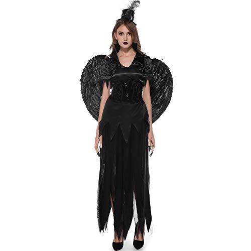 Ilyssm Halloween Damen Kleid, Vampire Dark Angel Kostüm Cosplay Klassisches Vintage Kleid Stage Gothic Kleid Stage Performance Anzug Thema Party - Vampir Angel Kostüm