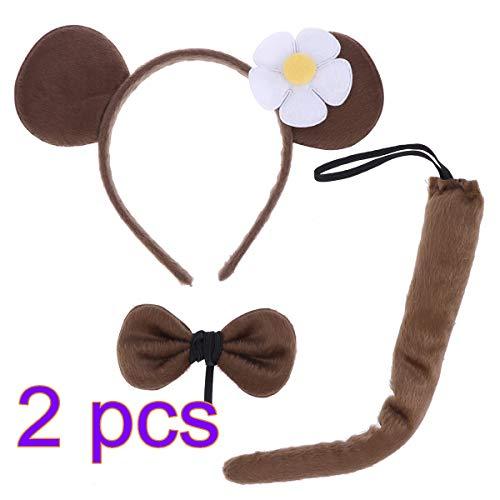nder AFFE Kostüm Set AFFE Ohren Stirnband Fliege Schwanz Rolle Spielen Leistung Prop Tier Cosplay Kostüm für Cosplay Party Zubehör ()