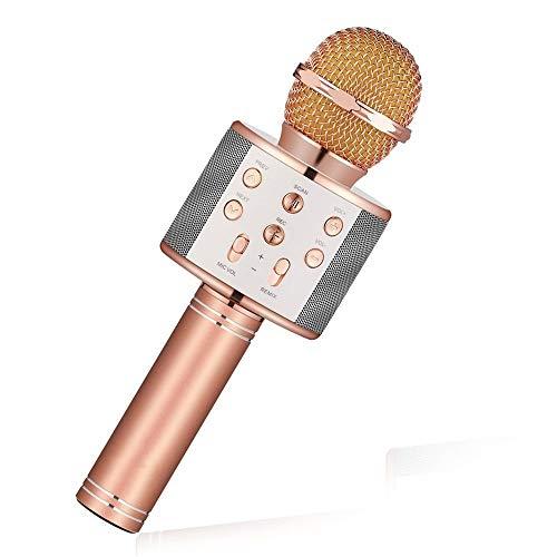 Bluetooth Mikrofon Handheld Wireless Karaoke Microphone Phone Player Mic Speaker Record Music Ktv Microfone,Rose Gold