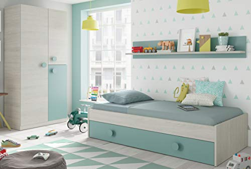 Pack Muebles Dormitorio Juvenil Cama Nido Estante y Armario ropero Verde y Blanco 90x190 cm Sin Somier...