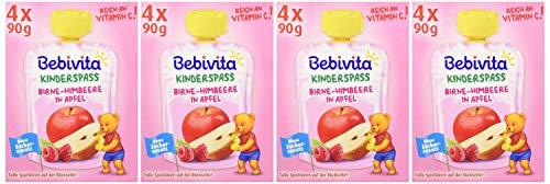 Bebivita Kinder-Spaß, Birne-Himbeere in Apfel, 4er Pack (4 x 4 x 90 g)