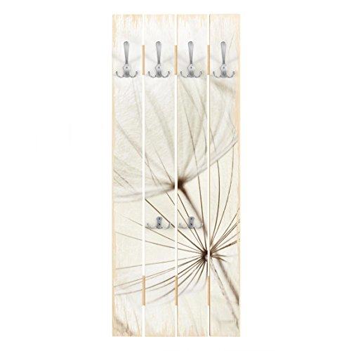 Bilderwelten Wandgarderobe Holz - Sanfte Gräser - Haken Chrom - Hoch, 100cm x 40cm
