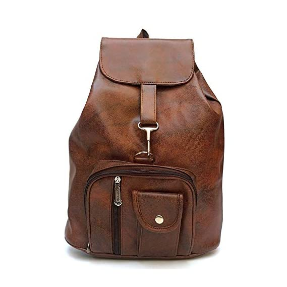 DEVWEBZONE Women's PU Leather Backpack (Brown, Small)