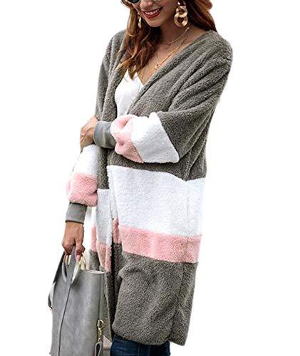 (Huateng Frauen lose Pullover Lange Strickjacke plüsch Mantel Langarm plüsch Strickjacke Winter warm Tops Oberbekleidung Mantel)