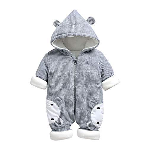 Livoral Babywinterjacke, neugeborenes Kleinkind, Baby, Mädchen, mit Kapuze, Overall, Overall, Kleidung(Grau,5-10 Monate)