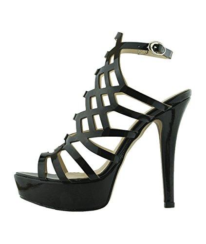 6Carina 146 Damen Sandalen mit Hoher Absatz Schwarz