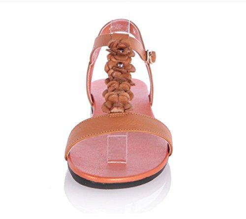 WZG Le printemps et l'été nouvelle vachette sandales en cuir des chaussures plates sauvages sangle mince sandales Yellow