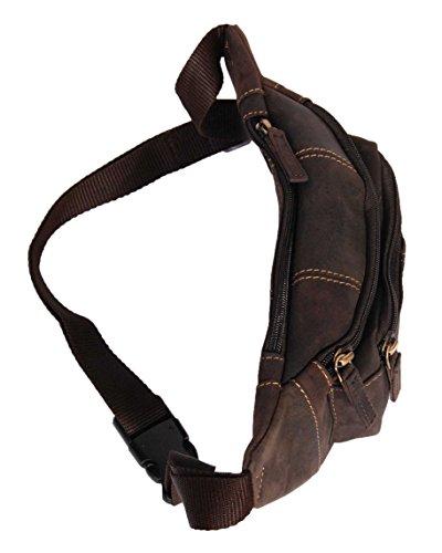 Cintura Bolso de Cuero Genuino Delgado Riñoneras de Moda del Dinero del Viajar BARCELONA Encerado Marrón