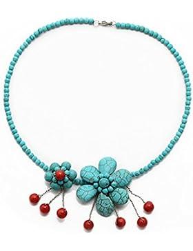 TreasureBay, Halskette / Choker, natürliche rote Koralle und türkise Edelsteine,in einer wunderschönen Schachtel