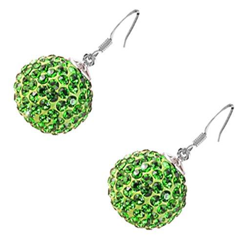 GWG® Sterling Silber Veredelte Kugel-Tropfen-Ohrringe für Frauen, Verziert mit Smaragd-Grünen Kristallen