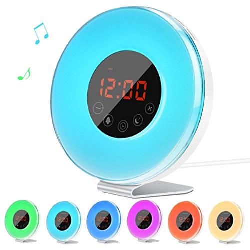Lichtwecker, Lorretta 2019 Wake Up Licht mit FM Radio Digitaluhr Licht für Erwachsene und Kinder, 7 Farbige LED Lichter, 6 Alarm Töne, 10 Helligkeitsstufen, Sonnenaufgang Simulation