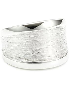 Vinani Damen-Ring glänzend Muster gebürstet Sterling Silber 925 RMG
