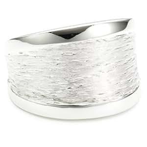 Vinani Damen-Ring glänzend Muster gebürstet Sterling Silber 925 Größe 52 (16.6 ) RMG52