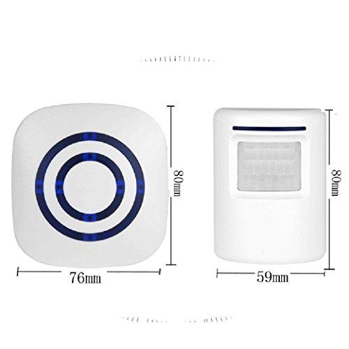Hunpta Drahtloser Bewegungssensor Detektor Tor Eingang Tür Bell Willkommens Klang Alarm Warnung (Weiß) (Tür-alarm-nacht)