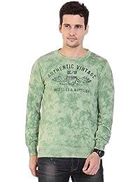 TAB91 Men's Cotton Rich Green Round Neck Pullover