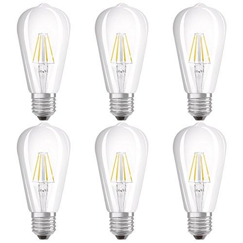 Osram LED Star Classic Edison Lampe, in Edison Form mit E27-Sockel, nicht dimmbar, Ersetzt 60 Watt, Filamentstil Klar, Warmweiß - 2700 Kelvin, 6er-Pack -