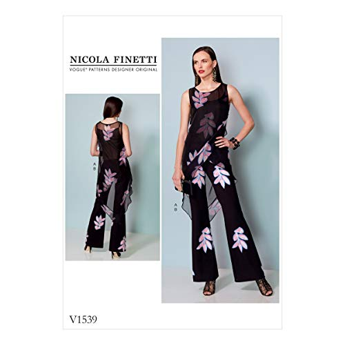 Vogue Patterns en Mousseline Tuniques et Jumpsuit, Multicolore, Tailles 14-22
