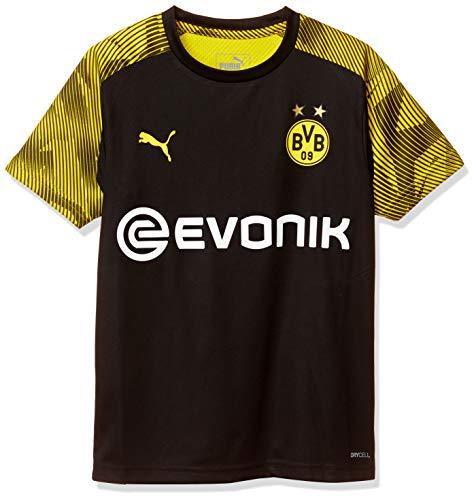 PUMA Kinder BVB Training Jersey Jr with Evonik Logo Trainingstrikot, Black/Cyber Yellow, 128