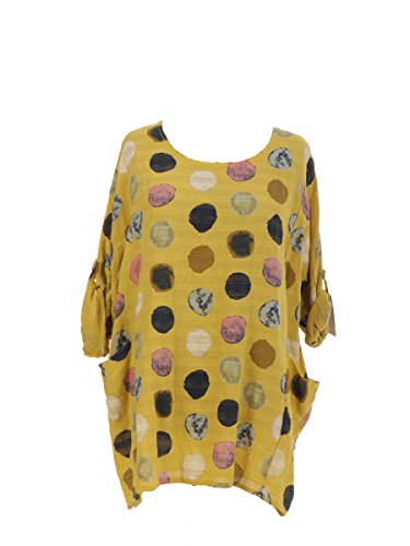 New Italian Ladies Women Lagenlook Polka Dots Cotton Tunic Top Plus Size 16-24