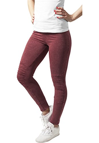 Ladies Denim Jersey Leggings burgundy