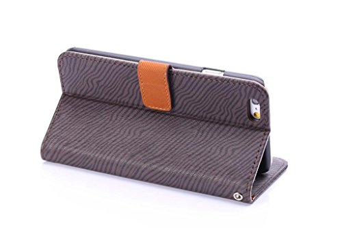 Premium Zebra Texture PU Ledertasche Brieftasche Pouch Style Case mit Kickstand und Card Slots für iPhone 6 Plus & 6s Plus ( Color : Yellow ) Black