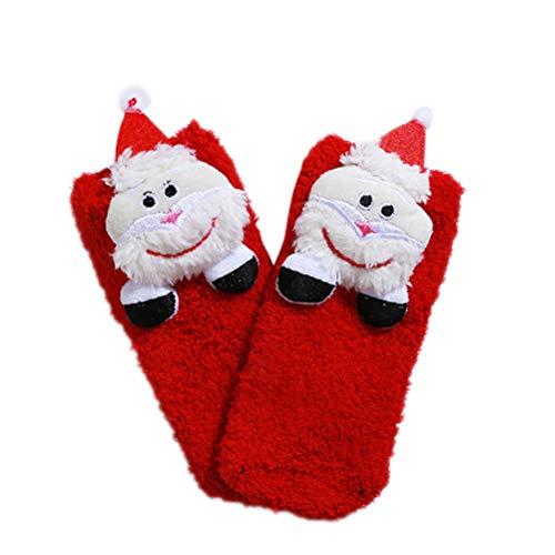 BESTOYARD Santa Socken 3D Weihnachtsstrümpfe Kinder Winter korallenrote Fleece Socken 1-5 Jahre