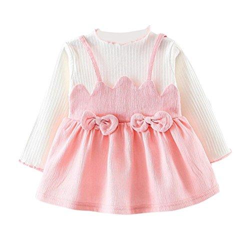 Amlaiworld baby langarmshirt flickwerk band röcke Mädchen Baumwolle bowknot kleider sommer Niedlich kinder kleid mode gemütlich kleidung, 0-24 Monate (6 Monate, Rosa)