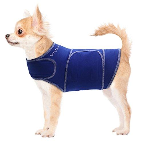 Vivaglory Angst T-Shirt mit Stressabbau und Anti-Angst-Effekt für Hunde, verstellbar, Größe M, Blau - 2