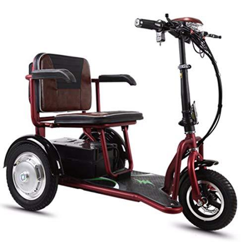 Quino Patinete eléctrico Triciclo Plegable para adultos, Silla de ruedas eléctrica Ajustable...