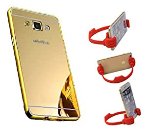 Aart Luxury Metal Bumper + Acrylic Mirror Back Cover Case For Samsung ON5 Gold+ Flexible Portable Mount Cradle Thumb OK Designed Stand Holder