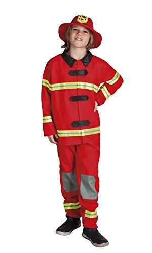 Confettery - Jungen Feuerwehrmann Kostüm, Karneval, Fasching, Mehrfarbig, Größe 104-116, 4-6 (Kostüme Für Feuerwehrmann Frauen)
