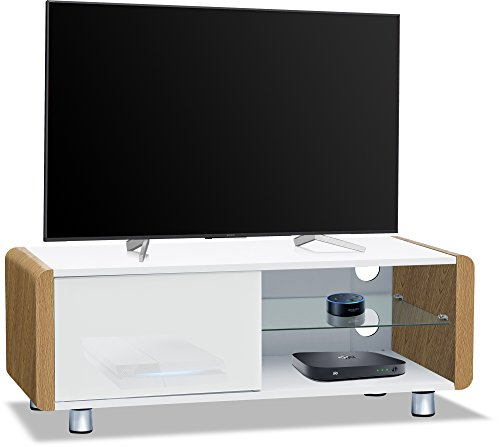CENTURION Supports Amalfi weiß glänzend beam-thru Fernbedienung Freundlicher 81,3cm-55Flachbild TV-Schrank eiche (Schrank Für Flachbild-tv)