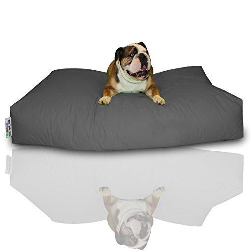 BuBiBag Hundekissen Größe 100x60x10 cm aus wasserdichtem Polyester Stoff in 23 Verschiedenen Farben zur Auswahl (Anthrazit) (600 Denier Polyester-gewebe)