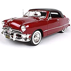 Modelo Original a Escala 1:18, Modelo de Automóvil de Aleación de Simulación de Techo Suave Ford 1950, Kit de Modelo de Fundición Estática, Modelo Terminado, AutomóVil de Juguete, Colección