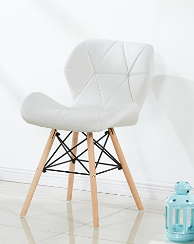 P&N Homewares Cecilia Eiffel Millmead Inspired Chair Plastic Retro White Black Grey Red Dining Chair Office Chair Lounge (WHITE)