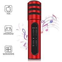 Aufnahme Mikrofon NASUM für Handy, YouTube, Podcasting, Twitch, Games Broadcast, kompatibles mit iOS und Android Smartphones Gerät schwarz (rot)