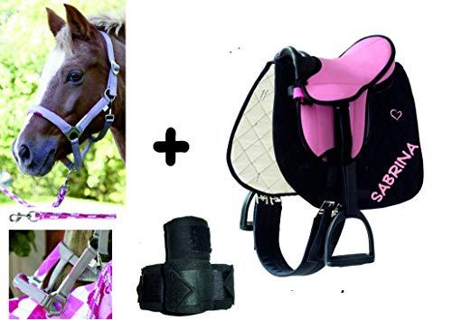 Sattelset Shetty/Pony mit Namen und Motiv auf der Schabracke und Halfterset - auch für Holzpferde (Sattelset rosa/pink, Schabracke schwarz)