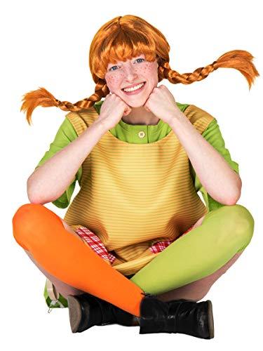 Maskworld Original Pippi Langstrumpf Perücke für Erwachsene - rote Haare mit 2 (Original Pippi Langstrumpf Kostüm)