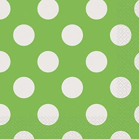 Lime Green Polka Dot Party Tableware pack and 6 Helium quality latex balloons