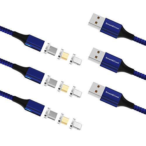 Smart&Cool Gen-X 3-in-1-Kabel, Nylon, geflochten, magnetisch, schnelllade- und Datenkabel, kompatibel mit USB-C-Geräten, Micro-USB-Geräten und i-Produkt