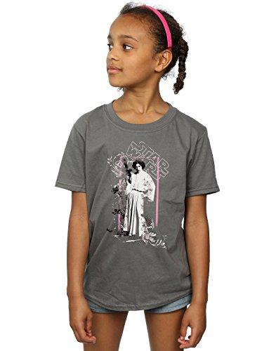 rincess Leia Distressed T-Shirt 9-11 years Holzkohle (Princess Star Wars)
