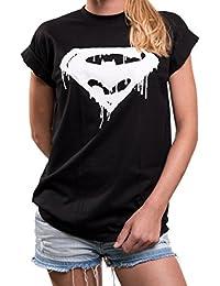 Comic Shirt für Damen - Hipster Damenshirt mit Superhelden Print locker lässig